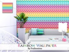Rainbow Wallpaper by Pralinesims at TSR • Sims 4 Updates