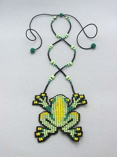 Items similar to Seed Beaded Frog, Beadwork Necklace, Art Jewelry, Frog Necklace on Etsy Peyote Patterns, Loom Patterns, Beading Patterns, Cross Stitch Patterns, Seed Bead Earrings, Seed Beads, Hama Beads, Jewelry Art, Beaded Jewelry