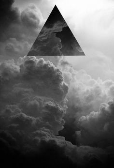 Black and white triangle clouds collage