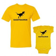 We Match! Daddysaurus & Babysaurus Adult T-Shirt & Baby Bodysuit Set Months Bodysuit, Adult T-Shirt Medium, Gold) We Match! Daddy And Son, Father And Son, Baby Shirts, Kids Shirts, Family Pajama Sets, Matching Pajamas, Matching Shirts, Baby Comforter, Daddy Gifts