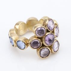 Bonnard mixed colored sapphire flower 18k gold ring