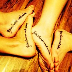 """""""You'll never walk alone"""". - These four ladies had the same quote tattoo to represent their friendship. #TattooModels #tattoo"""