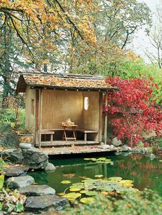 Garden Landscaping Ideas A stripped-down pond and outdoor shed provide you your own oasis!A stripped-down pond and outdoor shed provide you your own oasis! Japanese Tea House, Japanese Garden Design, Outdoor Sheds, Outdoor Gardens, Dream Garden, Home And Garden, Design Jardin, Pond Design, Landscape Design