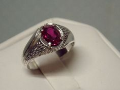 mens 1.55ct red Ruby 925 sterling silver ring size 9.5 USA made #Solitaire