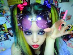 i love the neon yellow hair with the ultra-violet sunglasses. Emo Princess, Crazy Hair Days, Emo Scene, Cybergoth, Yellow Hair, Neon Yellow, White Hair, Punk Goth, Aesthetic Photo