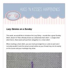Read my latest newsletter! Hugs N Kisses, Lazy Daisy Stitch, Nice Curves, Stitch Book, Little Stitch, Pull Through, Book Girl, Chain Stitch, Flower Shape