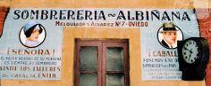 Anuncio de Sombrerería Albiñana de principios del Siglo XX, situado en la estación del vasco en Oviedo.