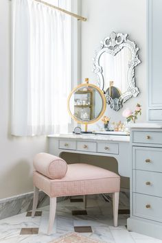 Is there anything more glamorous than getting ready for the day or evening at a gorgeous makeup vanity? If you're lucky enough to have the space at home, then having a separate area to keep your makeup and skincare essentials is a very smart idea. Floor Design, E Design, Design Ideas, Best Interior, Interior Design, Vanity Design, Bathroom Pictures, Bathroom Ideas, Paint Colors For Home