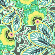 Inspiration piece - turquoise & gray + green, light blue, yellow  (Charcoal, Floral Couture)