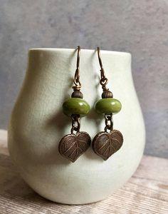 dad60d851 leaf charm earrings green handmade earringsartisan lampwork Antique Plates,  Uk Shop, Lampwork Beads,