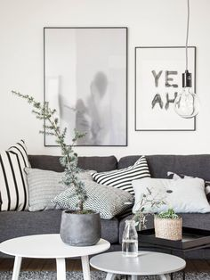 The Scandinavian living room design ideas can deliver a sense of clean and tidy to your house. The design focuses on the calm and clean atmosphere of the room. There are many Scandinavian living room designs you can try to… Continue Reading → Cozy Living Rooms, Home Living Room, Apartment Living, Living Room Designs, Living Room Decor, Apartment Therapy, Dark Grey Sofa Living Room Ideas, Black White And Grey Living Room, Black And White Cushions