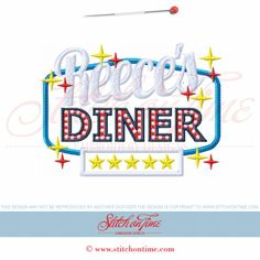 19 Food : Name Diner Made To Order Applique 5x7
