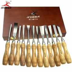"""Купить товар12 Pcs 8"""" Wood Carving Chisel Set Tool Wood Working Knife in Box Professional Hand Tool Set http://ali.pub/aiyfk"""