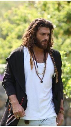 Most Beautiful Man, Gorgeous Men, Beautiful People, Turkish Men, Turkish Actors, Dudes With Long Hair, Hair And Beard Styles, Long Hair Styles, Long Hair Beard