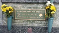 """Born Ian Fraser Kilmister, he was a founding member and frontman of the heavy metal rock group """"Motörhead"""". Forest Lawn Memorial Park, Heavy Metal Rock, Famous Graves, Rock Groups, Grave Memorials, Find A Grave, Metal Signs, The Beatles, How To Memorize Things"""