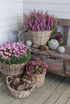 Pretty Ollas cesta de mimbre de flores