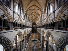 The nave in Salisbury Cathedral appears to go on forever. The medieval church inspired the fictional Kingsbridge cathedral in Ken Follett's novel The Pillars of the Earth. It holds the best preserved copy of the Magna Carta—the 1215 charter of citizens' rights familiar to every civics student. Near the cathedral, stallholders selling hog roasts, honey, olives, and English wines gather for the Charter Market, held twice weekly since the 13th century. Photograph by Matt Cardy, Getty Images…