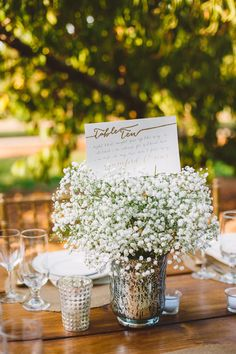 #table-names, #babys-breath  Photography: Mary Margaret Smith - www.marymargaretsmith.com  Read More: http://www.stylemepretty.com/2014/09/10/alabama-fall-orchard-wedding/
