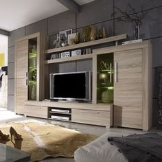 Modern wall unit in the color of rough sawn oak including front and body: Sonom . Living Room Wall Units, Living Room Tv Unit Designs, Living Room Decor, Tv Cabinet Design, Tv Wall Design, House Design, Tv Unit Furniture, Furniture Design, Painel Tv Sala Grande