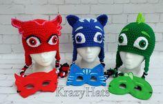 Crochet cat hatowl hat and gekko hat.Made to order. by KrazyHats1