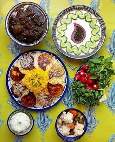 Persian vegetables and herbs stew Served over persian rice- غذای ایرانی
