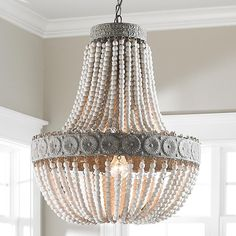 Shades of Light - Neutral Boho - Aged Wood Beaded Chandelier