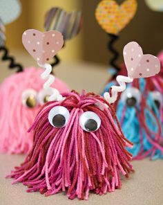 Love Bugs- Make a shaggy pom-pom add googly eyes, pipe cleaner antennae topped with paper hearts.