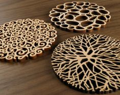 Hardwood Graphic Coasters The Garden Party от FivePlyDesign
