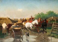 WŁADYSŁAW KAROL SZERNER (1870 - 1936)  W ZAGRODZIE   olej, płótno / 61 x 80 cm