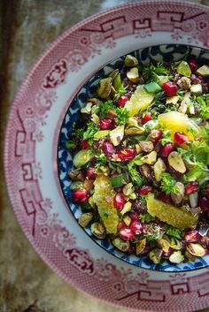 Christmas Quinoa Salad with oranges, pomegranates, bacon and pistachios.