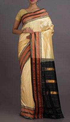 Heena Black And White Splendor Stripe Border Pure Narayanpet Silk Saree
