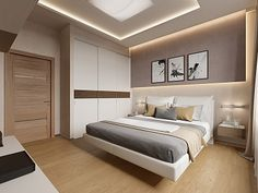 """Interior of the house in a modern style, the cottage village """"Heaven"""", 272 sq. Bedroom False Ceiling Design, Modern Bedroom Design, Master Bedroom Design, Home Bedroom, Home Interior Design, Bedroom Decor, Bedroom Designs, Bedroom Ideas, Bedroom Layouts"""
