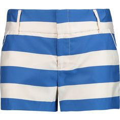 Alice + Olivia Striped satin-twill shorts ($155) ❤ liked on Polyvore featuring shorts, blue, satin shorts, slim shorts, blue shorts, mid rise shorts and blue striped shorts