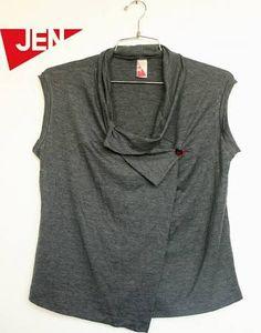 WINTER SALE under 50 Wrap asymmetrical top in by jenfashion Winter Sale, Summer Sale, Red Wrap Dress, Summer Tank Tops, Grey Fashion, Woman Fashion, Loose Shirts, Asymmetrical Tops, Wrap Sweater