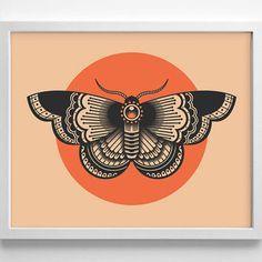 Moth Tattoo Design, Minimialistic, from StayGoldMedia on Etsy