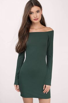Off The Shoulder Dresses, Tobi, Green Off My Shoulder Rib Knit Dress