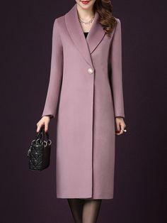 Fold-Over Collar Plain Coat - Fashion & Dresses Coats For Women, Jackets For Women, Clothes For Women, Double Breasted Coat Mens, Mode Mantel, Coatdress, Mode Hijab, Tweed Jacket, Ideias Fashion