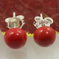 925 Solid Sterling Silver CORAL(S) Gemstones Beautiful Stud Earrings ! Love Gift…