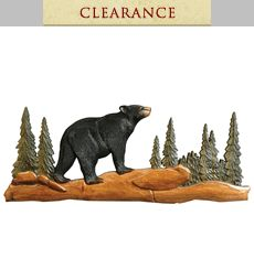 cf14eb017ce Black Bear Forest Wood Wall Hanging - CLEARANCE Lodge Look