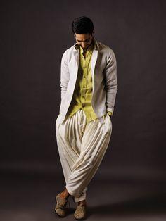 Bomber jacket with Linen shirt and silk ghera salwar#AnitaDongre #summer #menswear