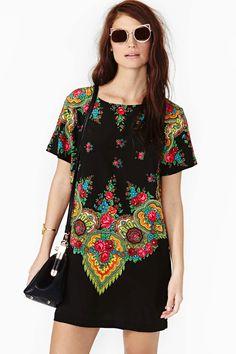 Gypsy Rose Silk Dress (looks like Pavlov Posad kerchief.)