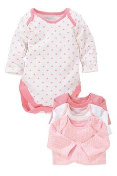 Newborn Tops - Baby Tops and Infantwear - Next Long Sleeve Bodies 4pk