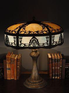 Large Gorgeous 12 Art Nouveau 12 Panel Slag Glass Lamp