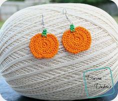 Pumpkin Earrings free crochet pattern by DivineDebris.com