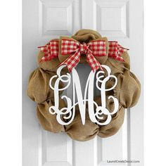 Burlap Christmas Wreath with Red and White by LaurelCreekWreaths, $125.00