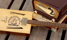 Homemade Guitars - Blues History & Cigar Box Guitars: It's Radio-active! Guitar Diy, Cigar Box Guitar, Cigar Boxes, Box Design, Woodworking Projects, Blues, Cool Stuff, Musical Instruments, Wedge