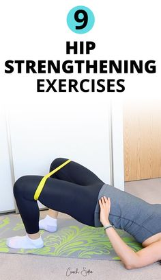 Here are 9 hip and glute strengthening exercises to stabilize your hips and alleviate hip pain and lower back pain. Bodyweight and banded . Hip Strengthening Exercises, Lower Back Pain Exercises, Hip Flexor Exercises, Resistance Band Exercises, Hip Pain, Stretches, Knee Exercises, Training Exercises, Stretching Exercises