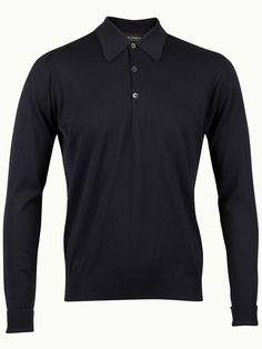 John Smedley Finchley Long Sleeve Polo Shirt - Navy - Available to buy at http://www.afarleycountryattire.co.uk/product-tag/john-smedley-finchley-long-sleeve-polo-shirt/ #johnsmedley #mensfashion #poloshirt #afarleycountryattire