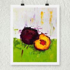 Still Life Fruit Art, Purple and Green Art, Giclee Art Print, Archival Print, Fine Art Reproduction, Impasto Artwork, Kitchen Decor, Plums by ebuchmann on Etsy