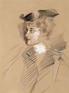 Paul-César Helleu, La Duchesse d'Uzès, trois crayons
